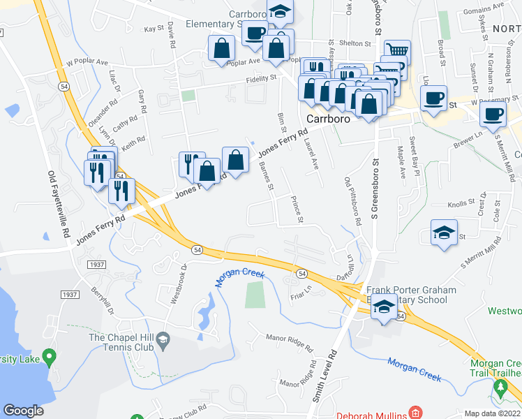 map of restaurants, bars, coffee shops, grocery stores, and more near 200 Barnes Street in Carrboro