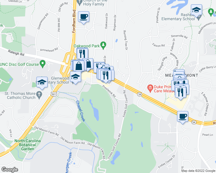 map of restaurants, bars, coffee shops, grocery stores, and more near 4406 Environ Way in Chapel Hill