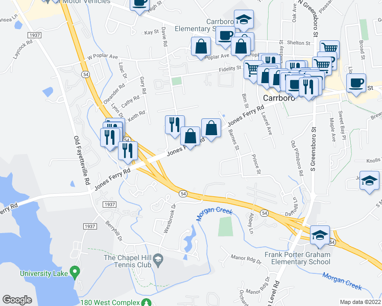 map of restaurants, bars, coffee shops, grocery stores, and more near 501 Jones Ferry Road in Carrboro