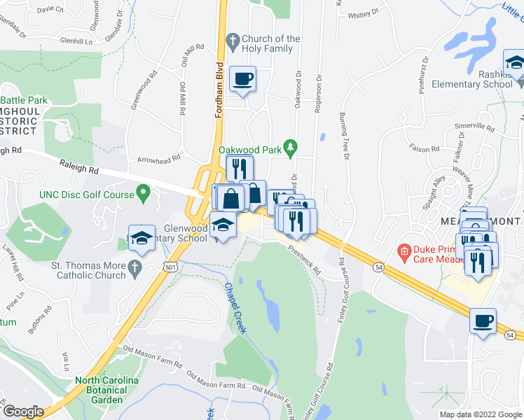 map of restaurants, bars, coffee shops, grocery stores, and more near 5 Hamilton Road in Chapel Hill