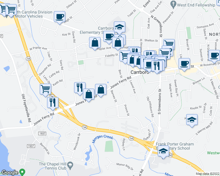 map of restaurants, bars, coffee shops, grocery stores, and more near Jones Ferry Rd & Barnes St in Carrboro