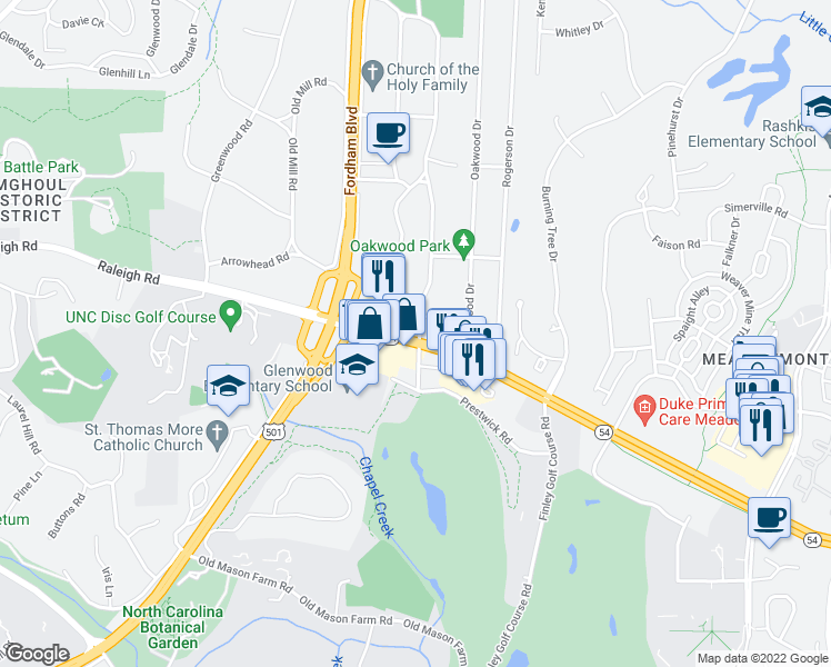 map of restaurants, bars, coffee shops, grocery stores, and more near 1214 Raleigh Road in Chapel Hill