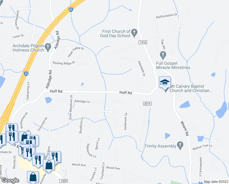 map of restaurants, bars, coffee shops, grocery stores, and more near Huff Road in Archdale