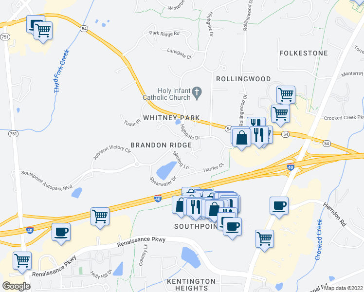 map of restaurants, bars, coffee shops, grocery stores, and more near 100 North Lochridge Drive in Durham
