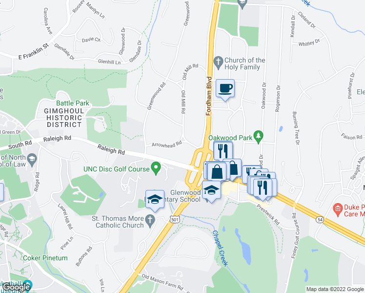 map of restaurants, bars, coffee shops, grocery stores, and more near 910 Arrowhead Road in Chapel Hill