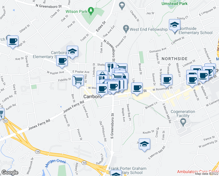 map of restaurants, bars, coffee shops, grocery stores, and more near 150 West Weaver Street in Carrboro