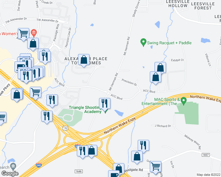 map of restaurants, bars, coffee shops, grocery stores, and more near Acc Boulevard in Raleigh