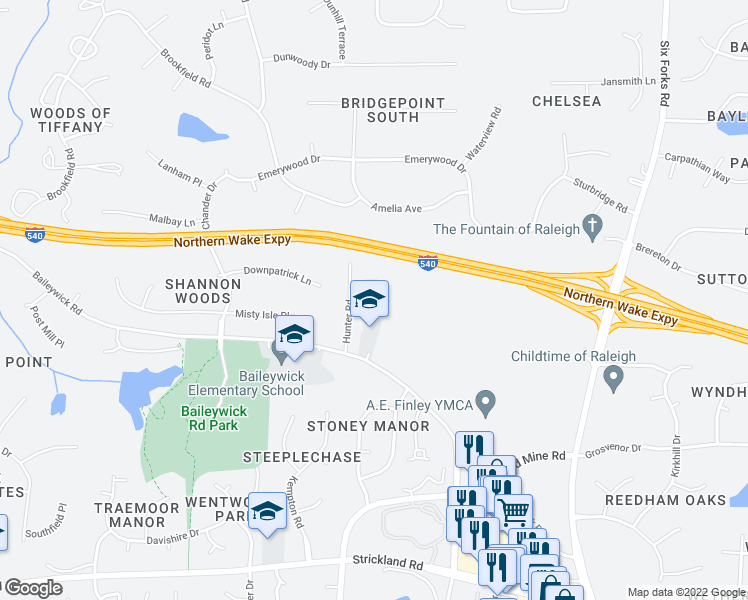 map of restaurants, bars, coffee shops, grocery stores, and more near 9324 Baileywick Road in Raleigh