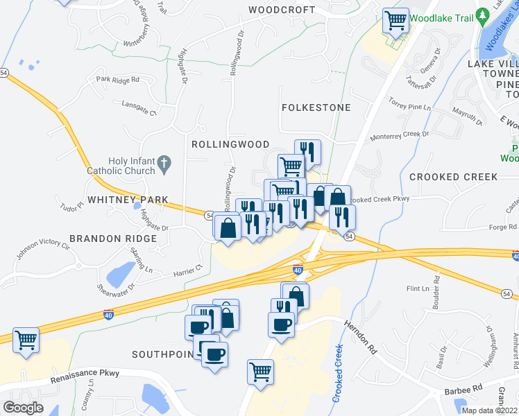 map of restaurants, bars, coffee shops, grocery stores, and more near 1800 Southpoint Crossing Drive in Durham