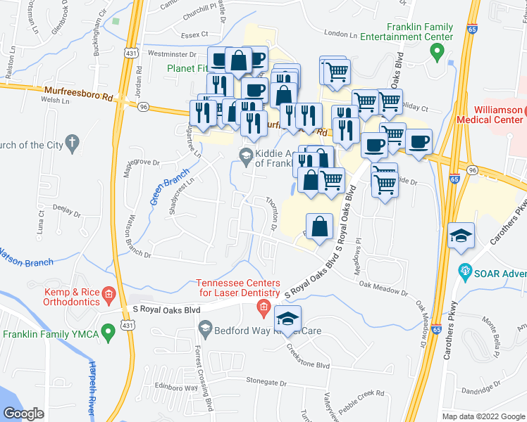 map of restaurants, bars, coffee shops, grocery stores, and more near 549 Southwinds Drive in Franklin