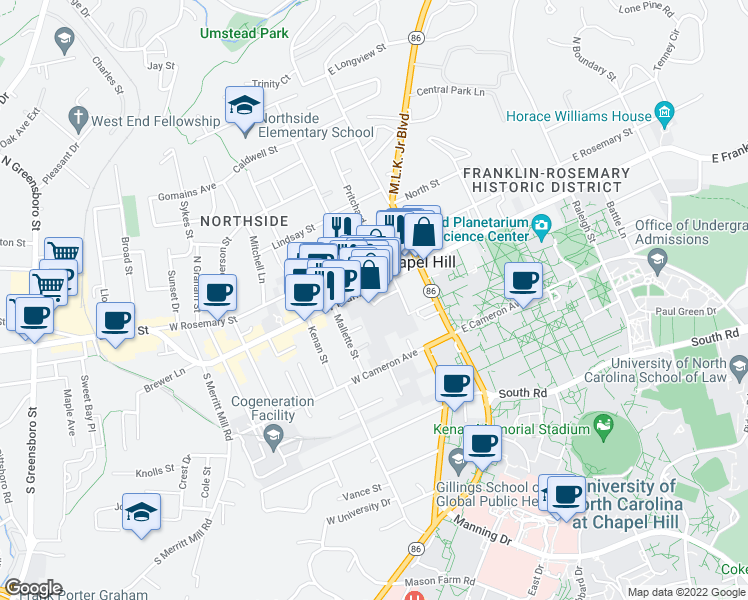 map of restaurants, bars, coffee shops, grocery stores, and more near 123 West Franklin Street in Chapel Hill