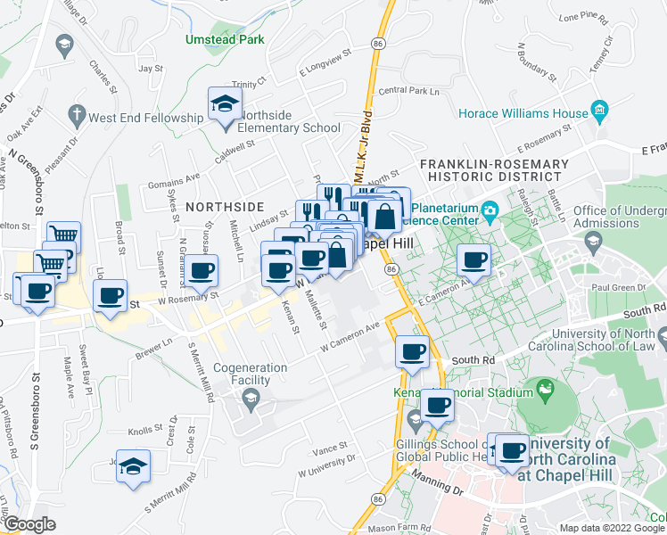 map of restaurants, bars, coffee shops, grocery stores, and more near 133 West Franklin Street in Chapel Hill