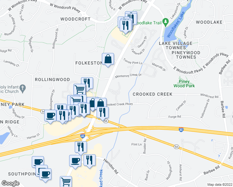 map of restaurants, bars, coffee shops, grocery stores, and more near 1400 Laurel Springs Drive in Durham