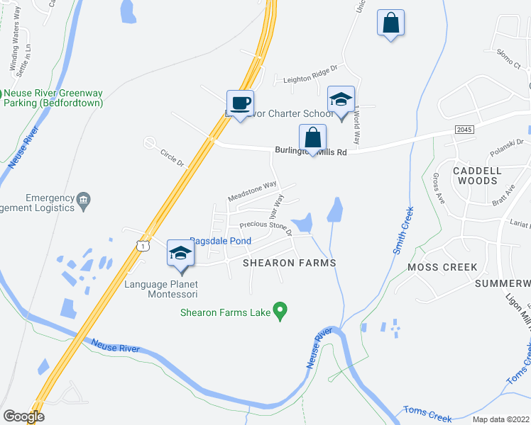 map of restaurants, bars, coffee shops, grocery stores, and more near 4434 Hillsgrove Road in Wake Forest