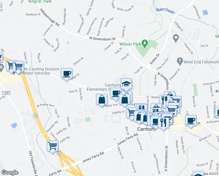 map of restaurants, bars, coffee shops, grocery stores, and more near 210 Hillsborough Road in Carrboro