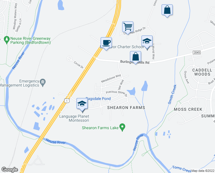 map of restaurants, bars, coffee shops, grocery stores, and more near 9846 Precious Stone Drive in Wake Forest