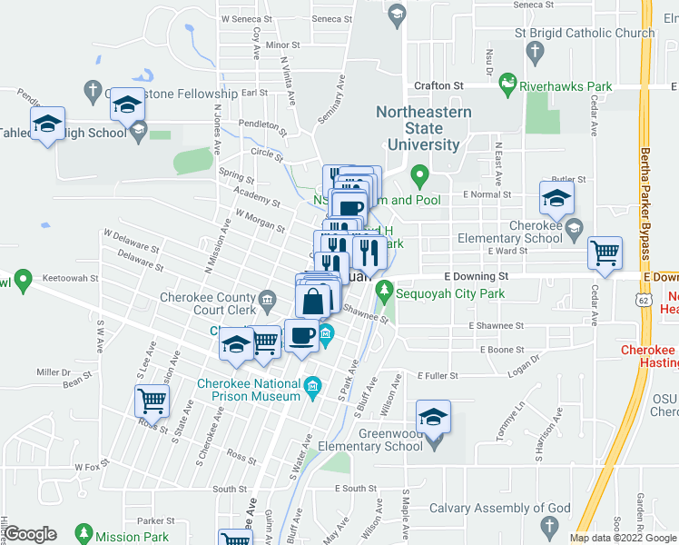 map of restaurants, bars, coffee shops, grocery stores, and more near in Tahlequah