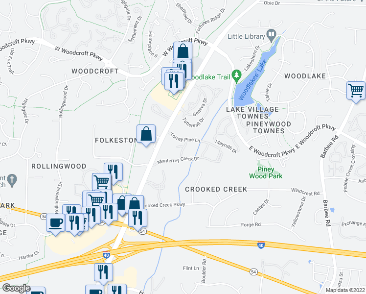 map of restaurants, bars, coffee shops, grocery stores, and more near 2414 Scots Pine Crossing in Durham