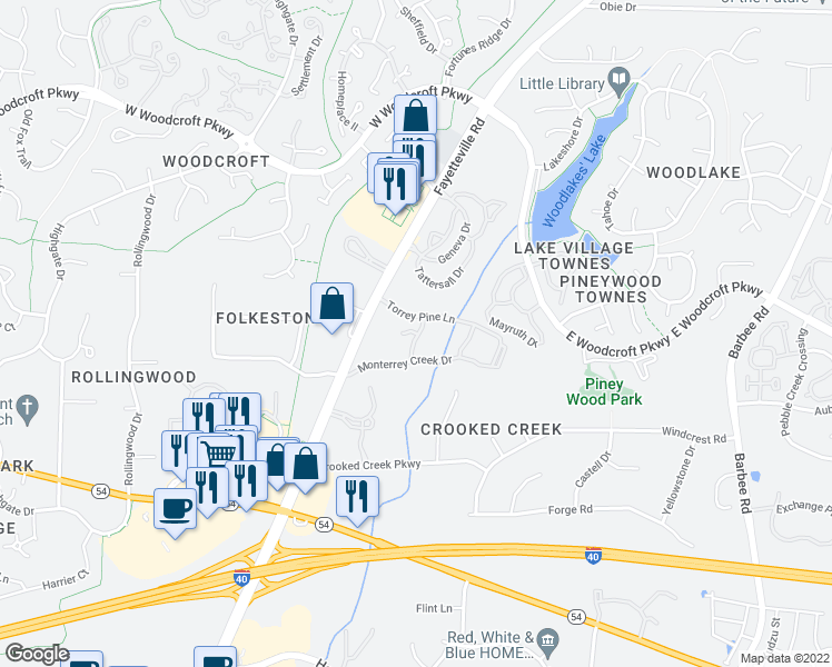 map of restaurants, bars, coffee shops, grocery stores, and more near 2-98 Swiftstone Court in Durham