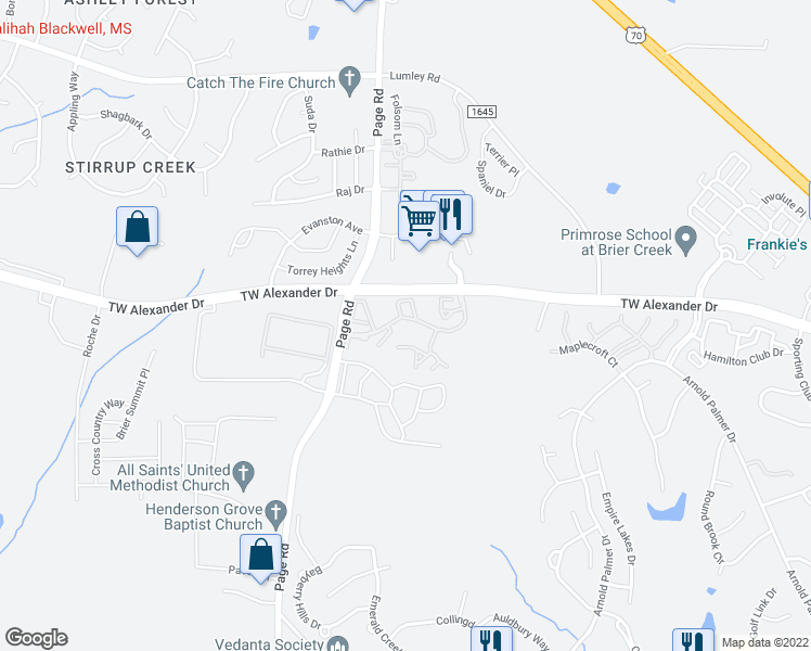 map of restaurants, bars, coffee shops, grocery stores, and more near 200 Wind River Parkway in Morrisville