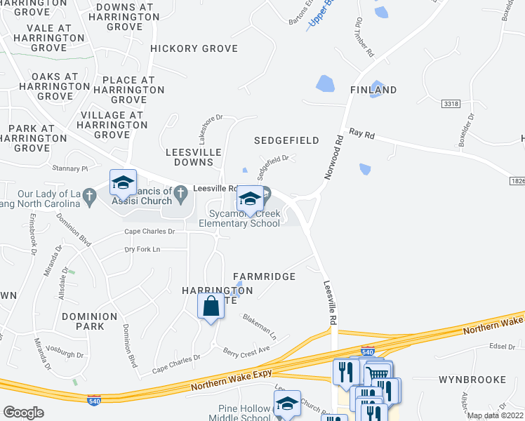 map of restaurants, bars, coffee shops, grocery stores, and more near 11101-11209 Leesville Road in Raleigh