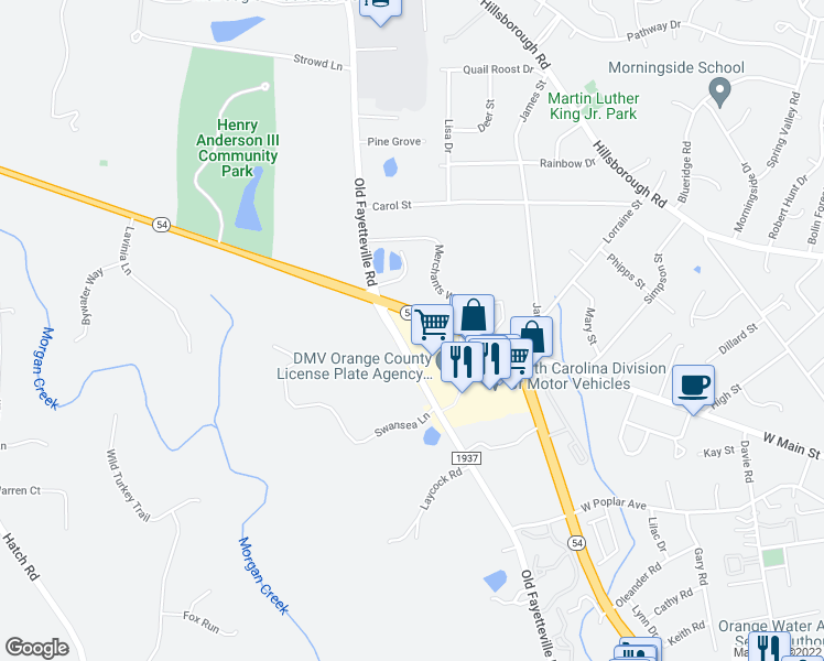 map of restaurants, bars, coffee shops, grocery stores, and more near 100 North Carolina 54 in Carrboro