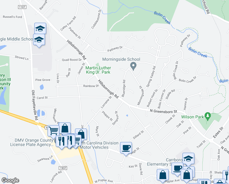 map of restaurants, bars, coffee shops, grocery stores, and more near 900 Hillsborough Road in Chapel Hill
