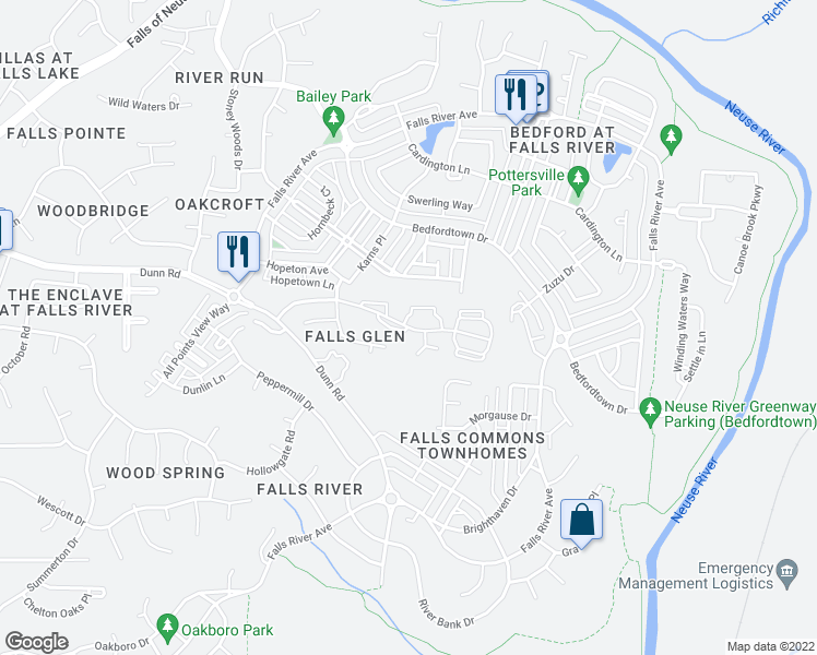 map of restaurants, bars, coffee shops, grocery stores, and more near 2110 Breezeway Drive in Raleigh