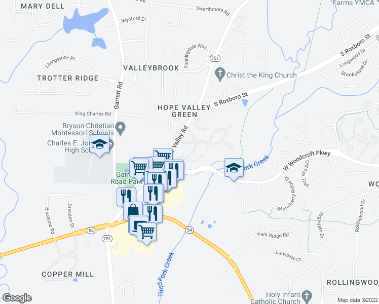 map of restaurants, bars, coffee shops, grocery stores, and more near 4655 Hope Valley Road in Durham