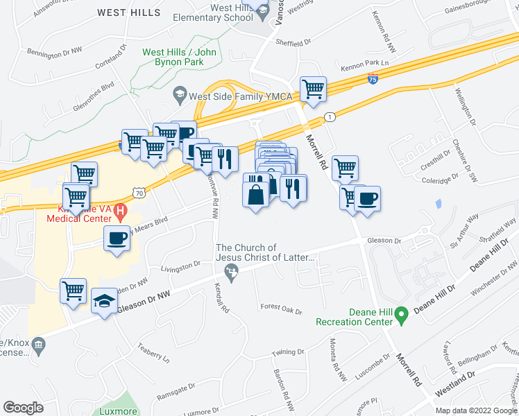 map of restaurants, bars, coffee shops, grocery stores, and more near 7600 Kingston Pike in Knoxville