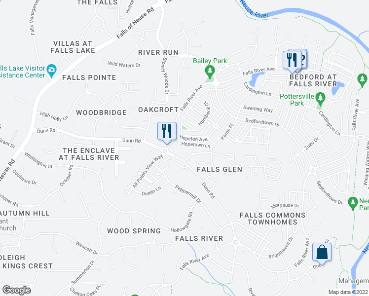 map of restaurants, bars, coffee shops, grocery stores, and more near 1911 Falls Landing Drive in Raleigh