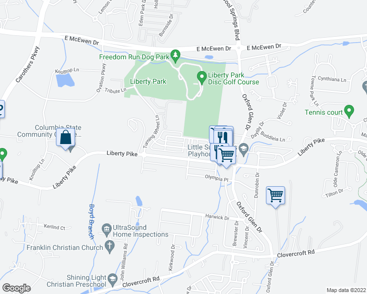 map of restaurants, bars, coffee shops, grocery stores, and more near Decatur Cir in Franklin