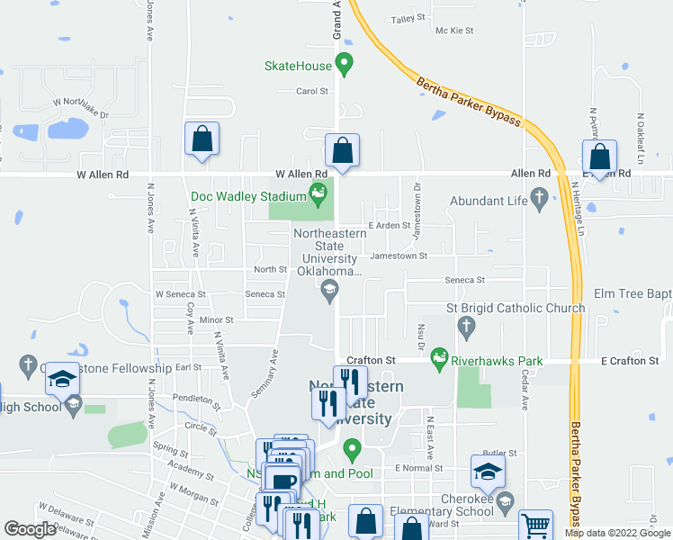 map of restaurants, bars, coffee shops, grocery stores, and more near 10 North Street in Tahlequah