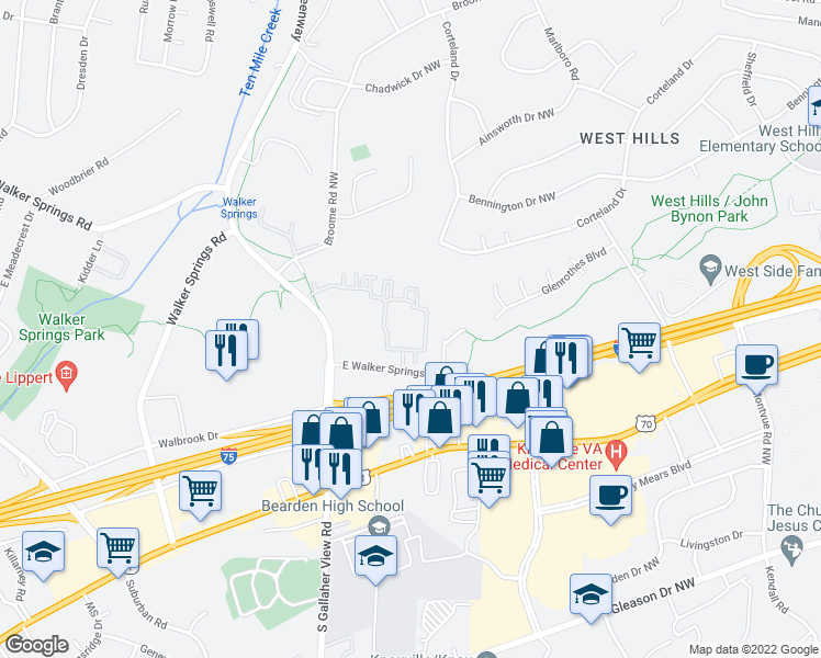 map of restaurants, bars, coffee shops, grocery stores, and more near 8301 Block House Way in Knoxville