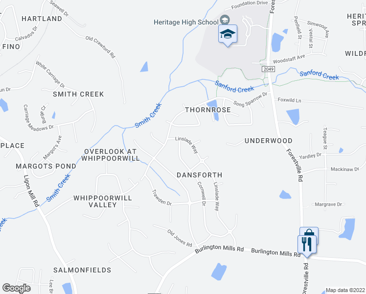 map of restaurants, bars, coffee shops, grocery stores, and more near 9228 Cornwell Drive in Wake Forest