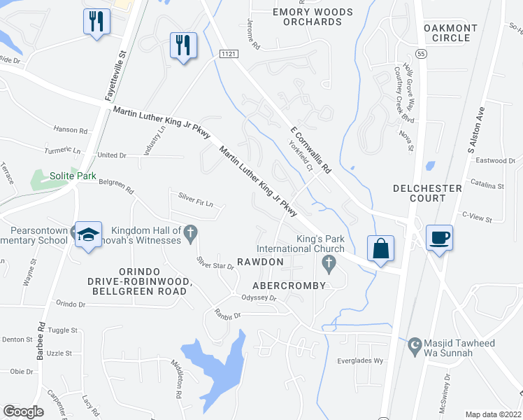 map of restaurants, bars, coffee shops, grocery stores, and more near 3417 Balfour West in Durham