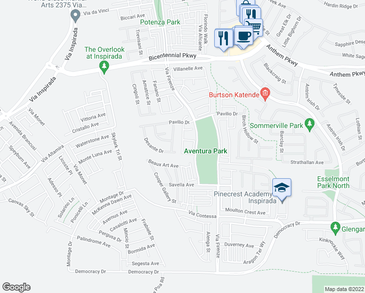 map of restaurants, bars, coffee shops, grocery stores, and more near 2588 Ballatore Street in Henderson