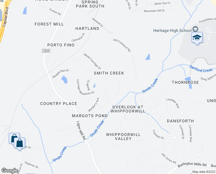 map of restaurants, bars, coffee shops, grocery stores, and more near 2941 Carriage Meadows Drive in Wake Forest