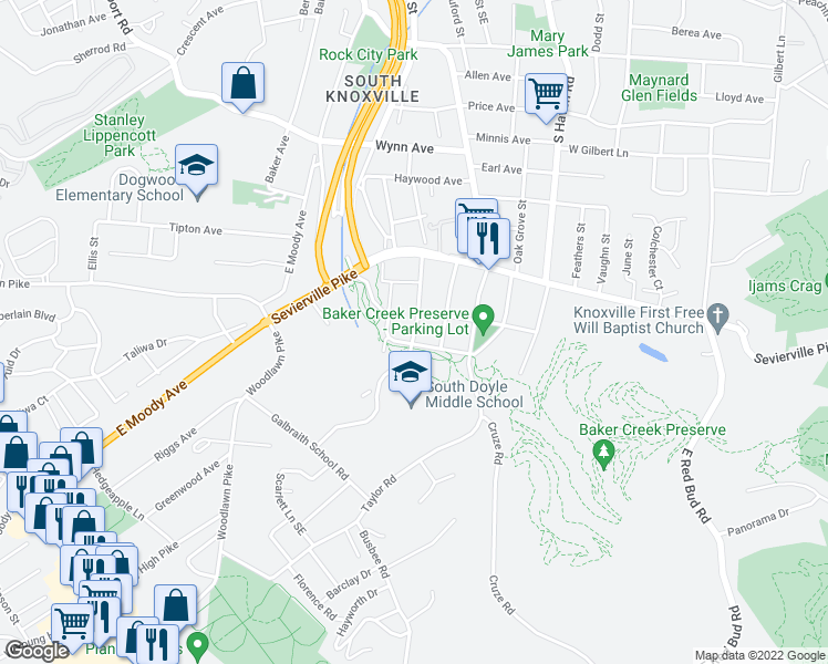map of restaurants, bars, coffee shops, grocery stores, and more near 3721 Decatur Drive in Knoxville