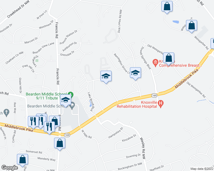 map of restaurants, bars, coffee shops, grocery stores, and more near 3006 Lake Brook Boulevard in Knoxville
