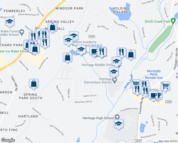 map of restaurants, bars, coffee shops, grocery stores, and more near 1910 Capital Creek Drive in Wake Forest