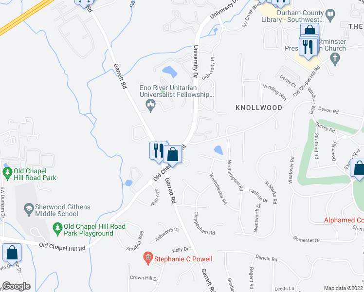 map of restaurants, bars, coffee shops, grocery stores, and more near Old Chapel Hill Road in Durham