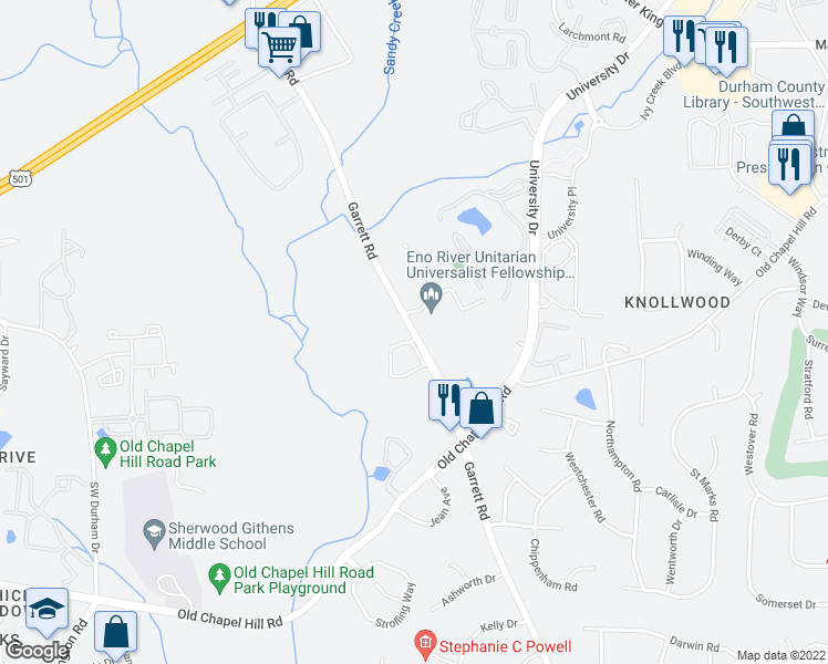 map of restaurants, bars, coffee shops, grocery stores, and more near 4907 Garrett Road in Durham