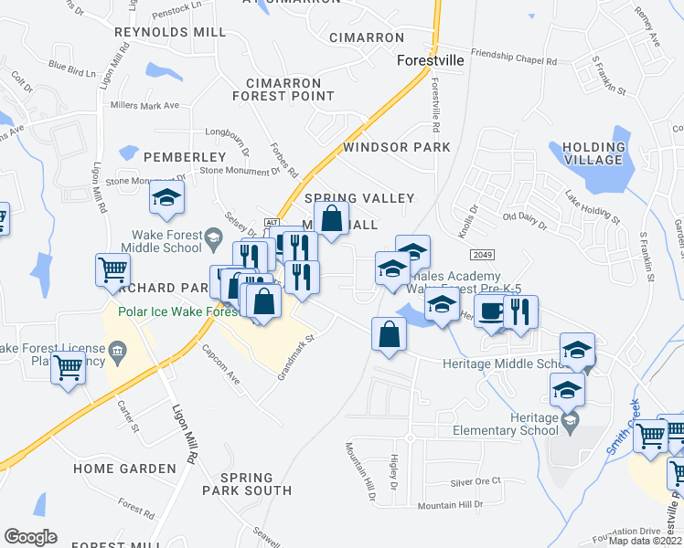 map of restaurants, bars, coffee shops, grocery stores, and more near Heritage Farm Road in Wake Forest