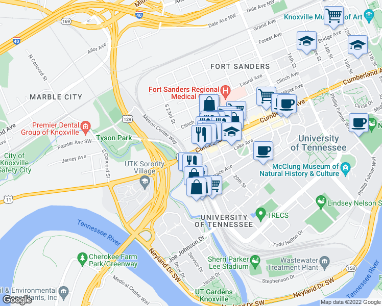 map of restaurants, bars, coffee shops, grocery stores, and more near Kingston Pike & Volunteer Blvd in Knoxville