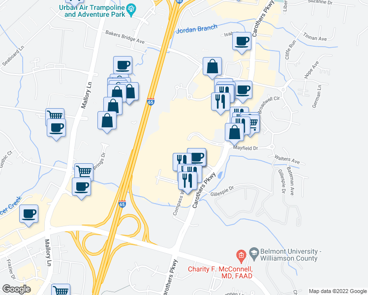 Map Of Restaurants Bars Coffee Shops Grocery Stores And More Near 9009