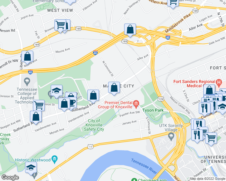 map of restaurants, bars, coffee shops, grocery stores, and more near 1304 Papermill Pointe Way in Knoxville