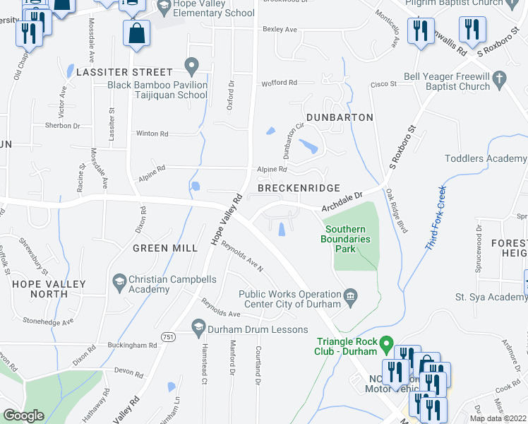 map of restaurants, bars, coffee shops, grocery stores, and more near 401 Archdale Drive in Durham