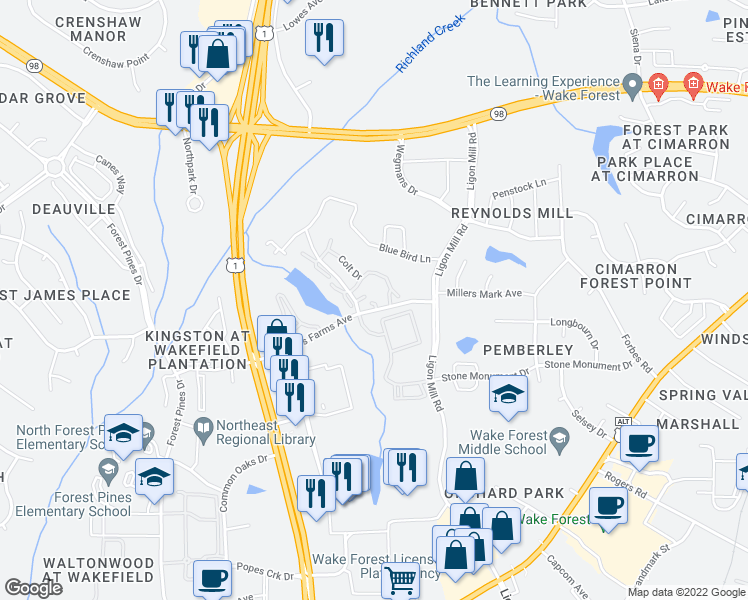 map of restaurants, bars, coffee shops, grocery stores, and more near 1760 Pasture Walk Drive in Wake Forest