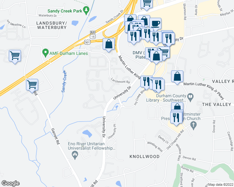 map of restaurants, bars, coffee shops, grocery stores, and more near 624 Snow Crest Trail in Durham